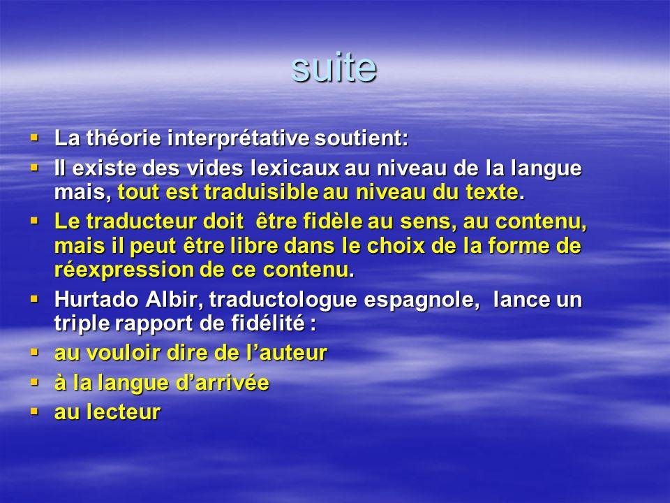 suite La théorie interprétative soutient: La théorie interprétative soutient: Il existe des vides lexicaux au niveau de la langue mais, tout est tradu