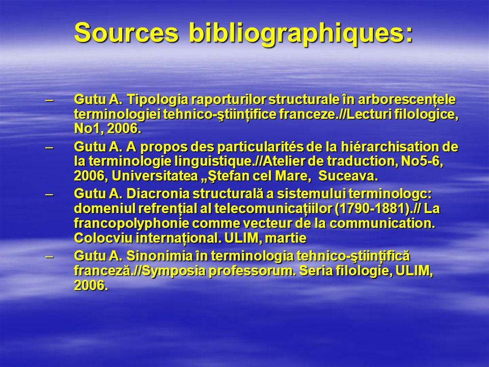 Sources bibliographiques: –Gutu A. Tipologia raporturilor structurale în arborescenţele terminologiei tehnico-ştiinţifice franceze.//Lecturi filologic