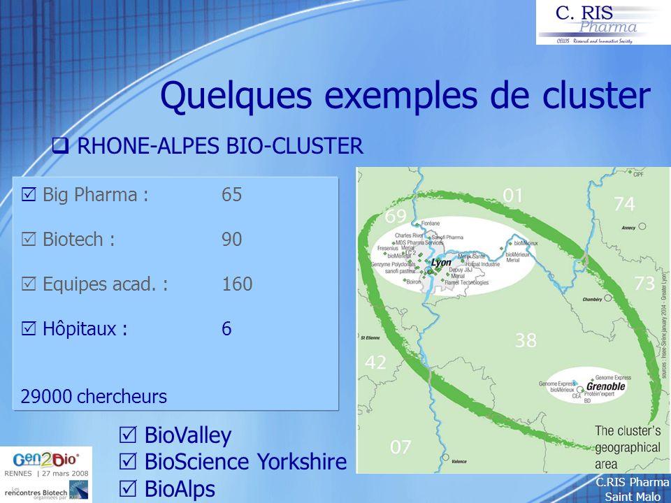 C.RIS Pharma Saint Malo Quelques exemples de cluster RHONE-ALPES BIO-CLUSTER Big Pharma : 65 Biotech : 90 Equipes acad. : 160 Hôpitaux :6 29000 cherch
