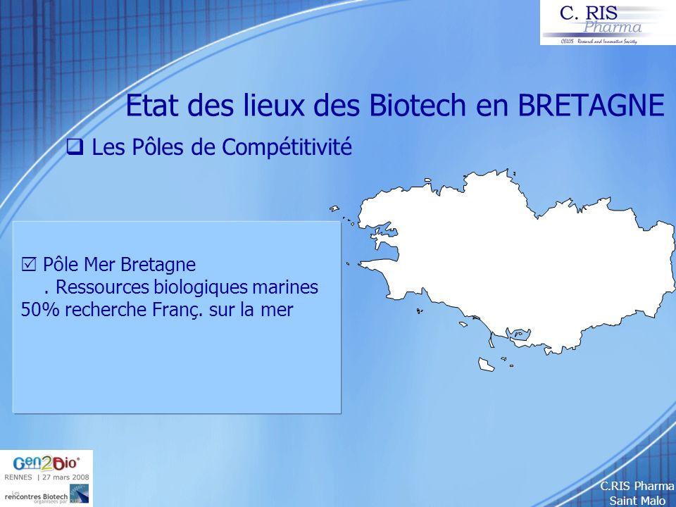 C.RIS Pharma Saint Malo Etat des lieux des Biotech en BRETAGNE Les Pôles de Compétitivité Pôle Mer Bretagne. Ressources biologiques marines 50% recher