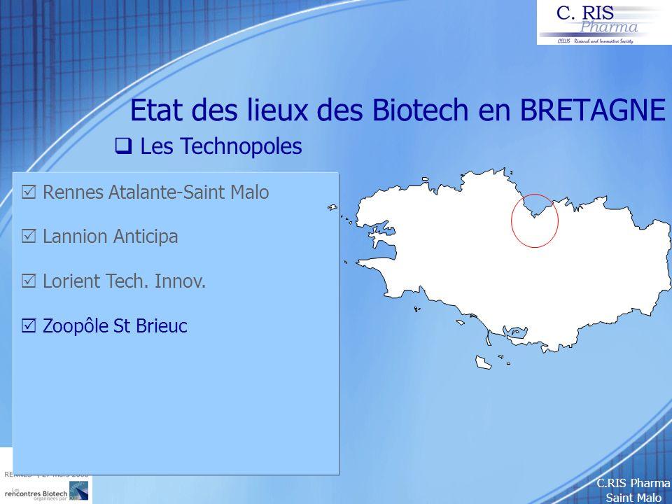 C.RIS Pharma Saint Malo Etat des lieux des Biotech en BRETAGNE Les Technopoles Rennes Atalante-Saint Malo Lannion Anticipa Lorient Tech. Innov. Zoopôl