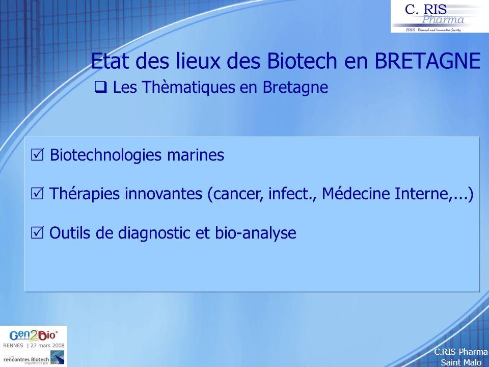 C.RIS Pharma Saint Malo Etat des lieux des Biotech en BRETAGNE Les Thèmatiques en Bretagne Biotechnologies marines Thérapies innovantes (cancer, infec