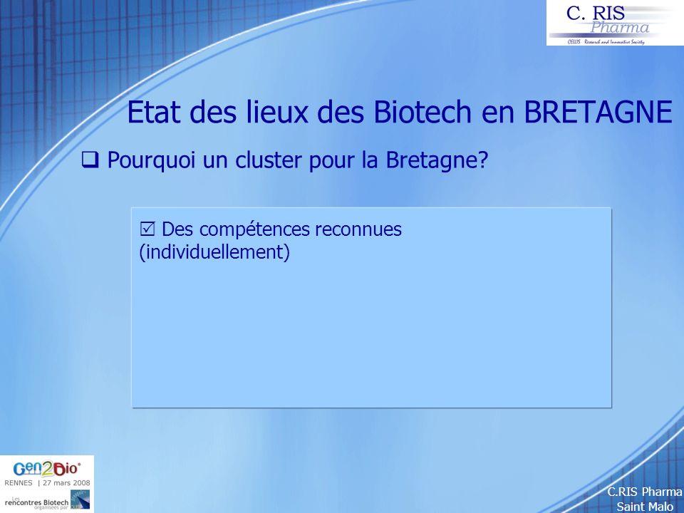 C.RIS Pharma Saint Malo Etat des lieux des Biotech en BRETAGNE Pourquoi un cluster pour la Bretagne? Des compétences reconnues (individuellement)