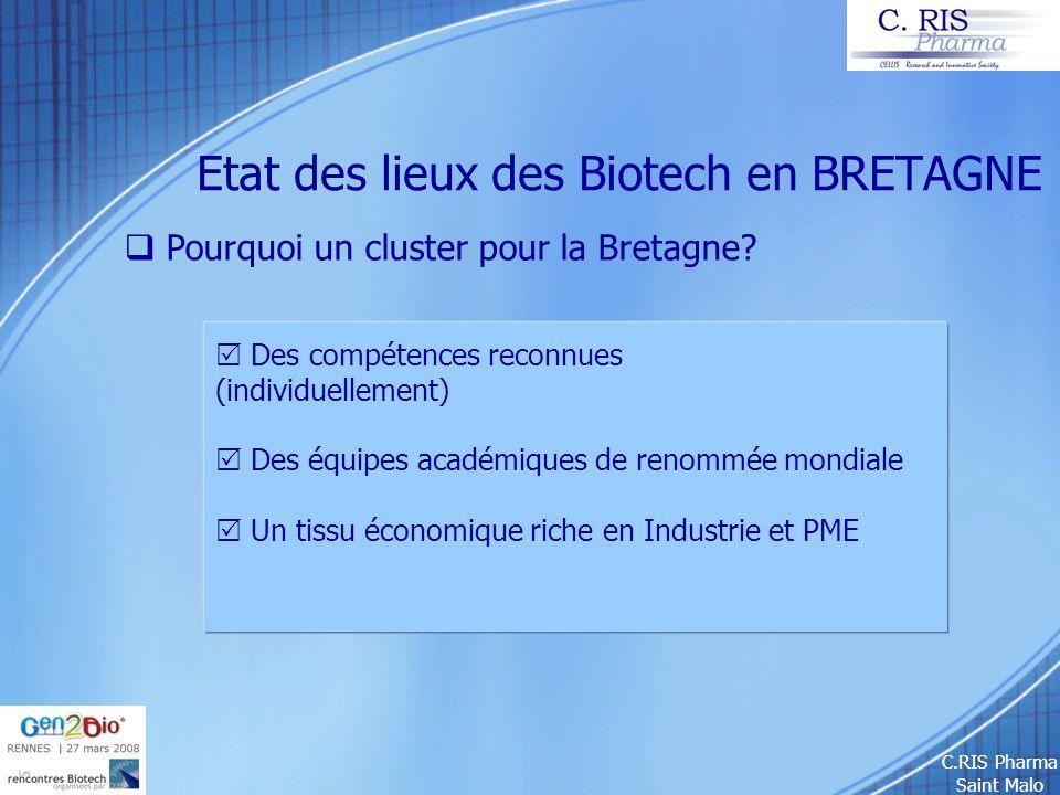 C.RIS Pharma Saint Malo Etat des lieux des Biotech en BRETAGNE Pourquoi un cluster pour la Bretagne? Des compétences reconnues (individuellement) Des