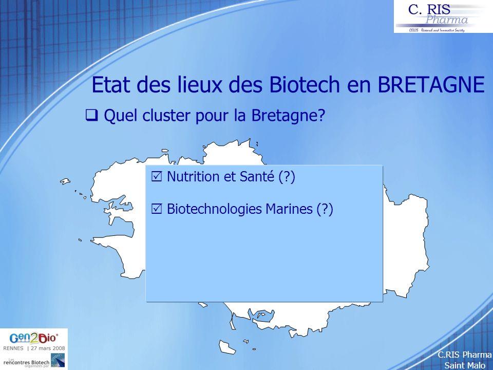 C.RIS Pharma Saint Malo Etat des lieux des Biotech en BRETAGNE Quel cluster pour la Bretagne? Nutrition et Santé (?) Biotechnologies Marines (?)