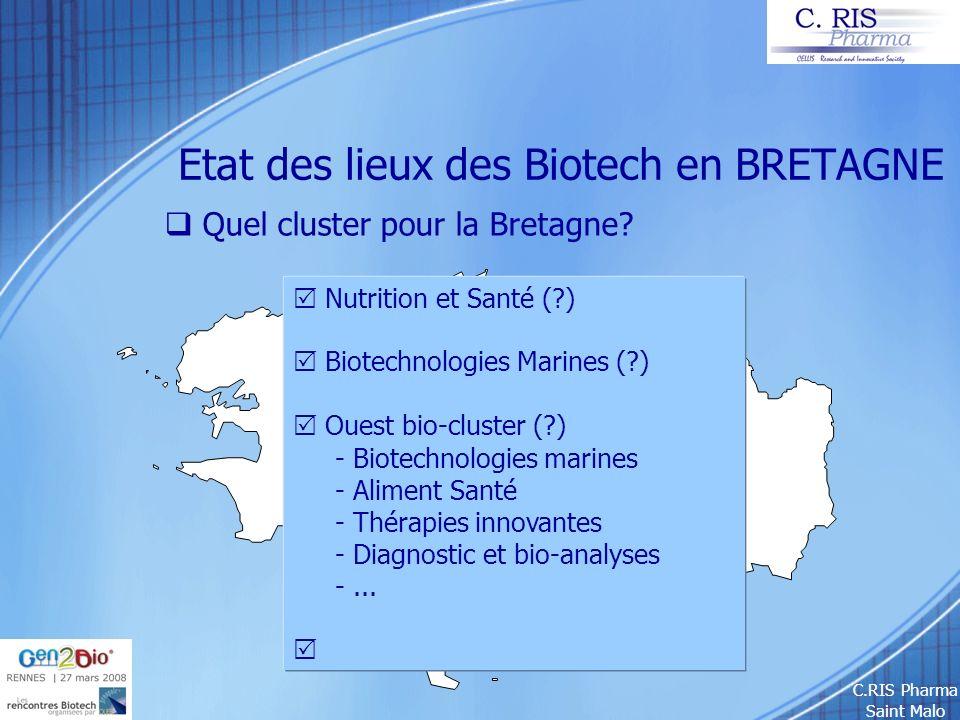 C.RIS Pharma Saint Malo Etat des lieux des Biotech en BRETAGNE Quel cluster pour la Bretagne? Nutrition et Santé (?) Biotechnologies Marines (?) Ouest