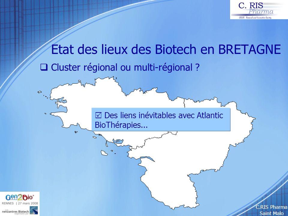 C.RIS Pharma Saint Malo Etat des lieux des Biotech en BRETAGNE Cluster régional ou multi-régional ? Des liens inévitables avec Atlantic BioThérapies..