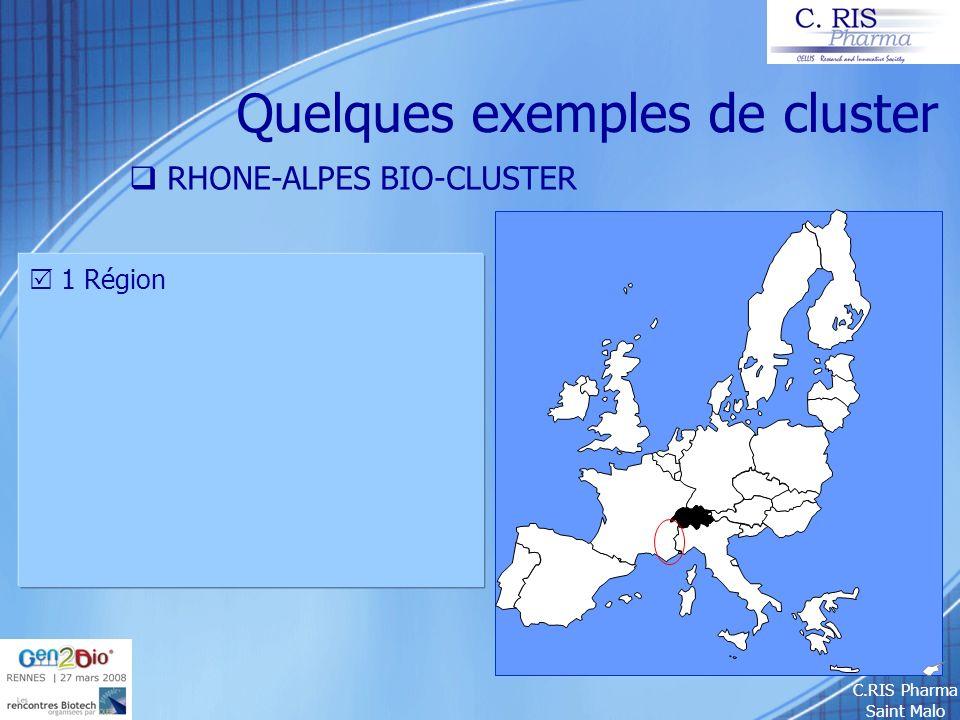 C.RIS Pharma Saint Malo Quelques exemples de cluster RHONE-ALPES BIO-CLUSTER 1 Région 6 thèmes scientifiques :.