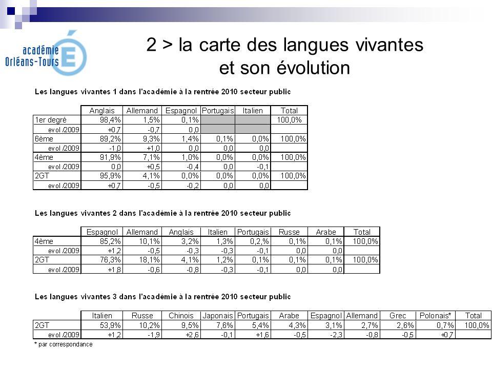 2 > la carte des langues vivantes et son évolution
