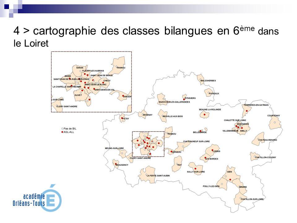 4 > cartographie des classes bilangues en 6 ème dans le Loiret