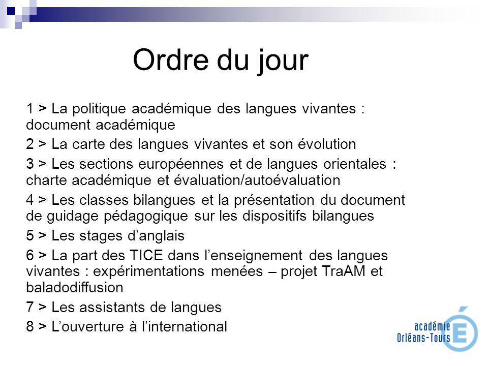 Ordre du jour 1 > La politique académique des langues vivantes : document académique 2 > La carte des langues vivantes et son évolution 3 > Les sectio