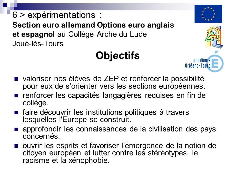 6 > expérimentations : Section euro allemand Options euro anglais et espagnol au Collège Arche du Lude Joué-lès-Tours Objectifs valoriser nos élèves d