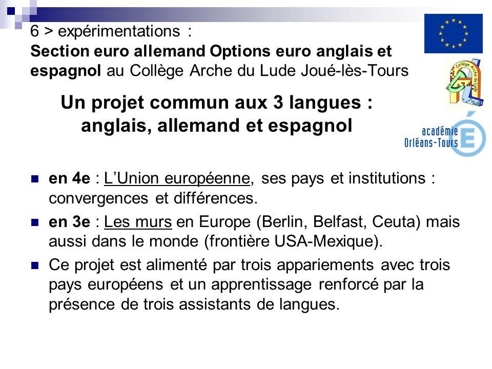 en 4e : LUnion européenne, ses pays et institutions : convergences et différences. en 3e : Les murs en Europe (Berlin, Belfast, Ceuta) mais aussi dans