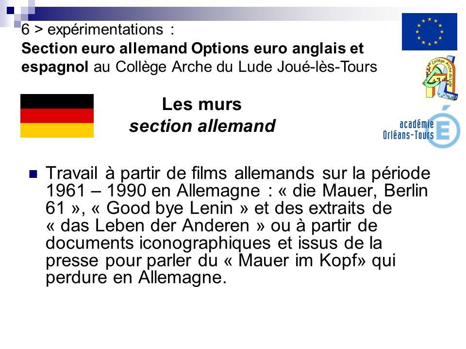 Travail à partir de films allemands sur la période 1961 – 1990 en Allemagne : « die Mauer, Berlin 61 », « Good bye Lenin » et des extraits de « das Le