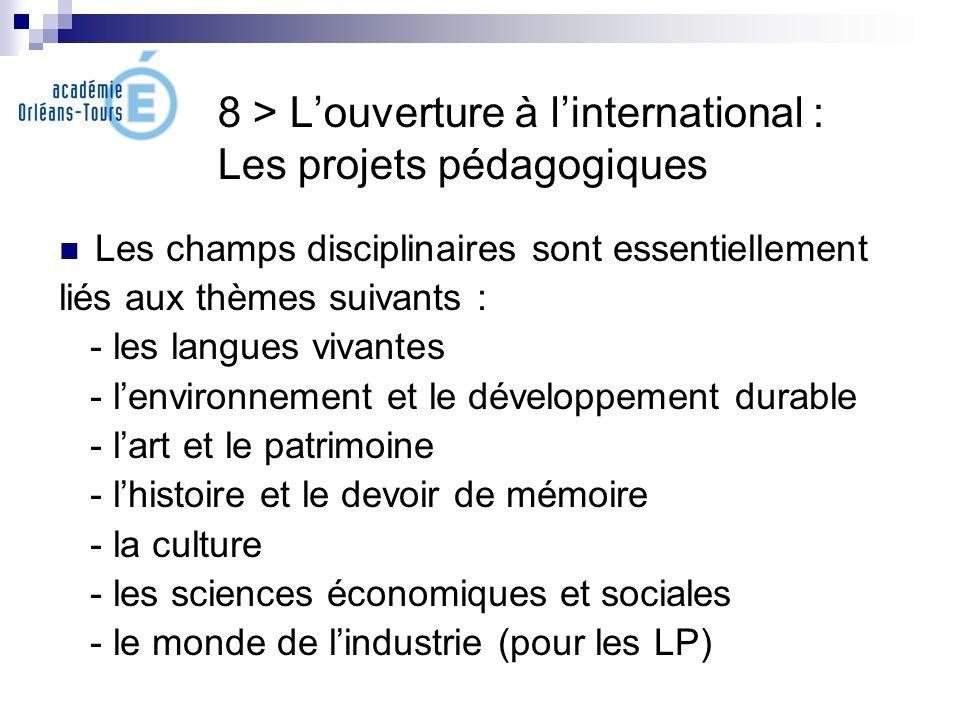 8 > Louverture à linternational : Les projets pédagogiques Les champs disciplinaires sont essentiellement liés aux thèmes suivants : - les langues viv