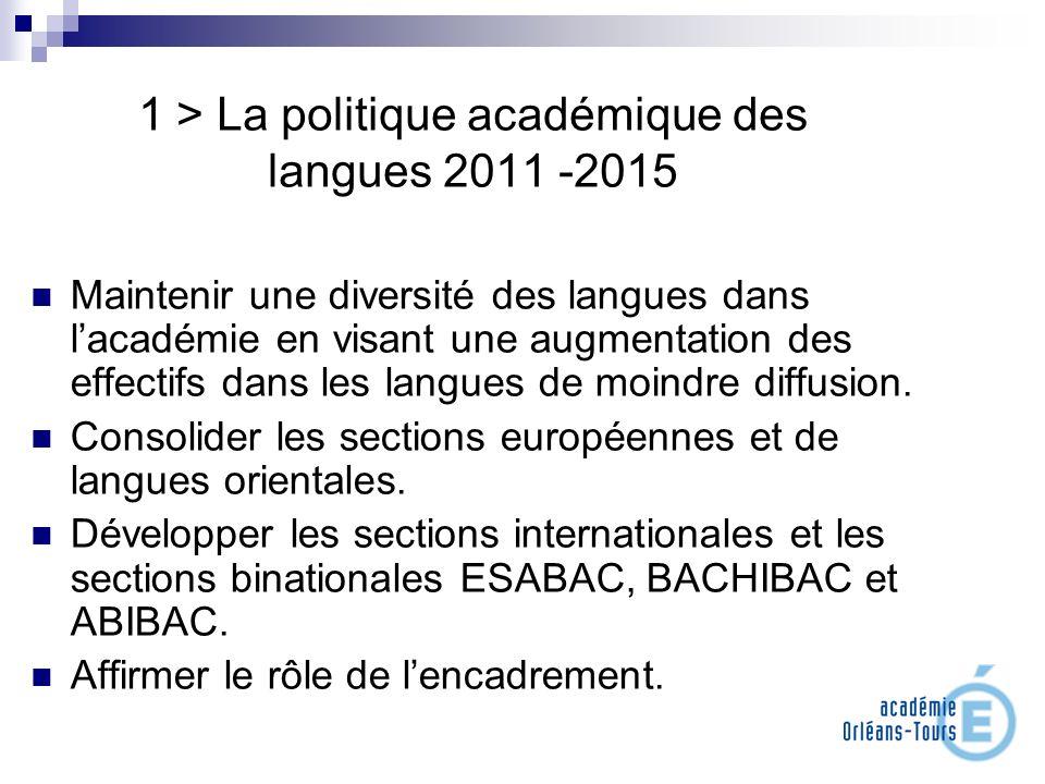1 > La politique académique des langues 2011 -2015 Maintenir une diversité des langues dans lacadémie en visant une augmentation des effectifs dans le