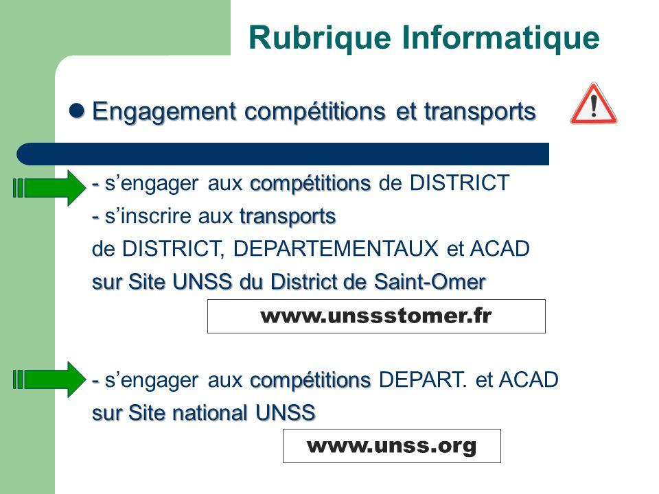 Rubrique Informatique Engagement compétitions et transports Engagement compétitions et transports -compétitions - sengager aux compétitions de DISTRICT - transports - sinscrire aux transports de DISTRICT, DEPARTEMENTAUX et ACAD sur Site UNSS du District de Saint-Omer -compétitions - sengager aux compétitions DEPART.
