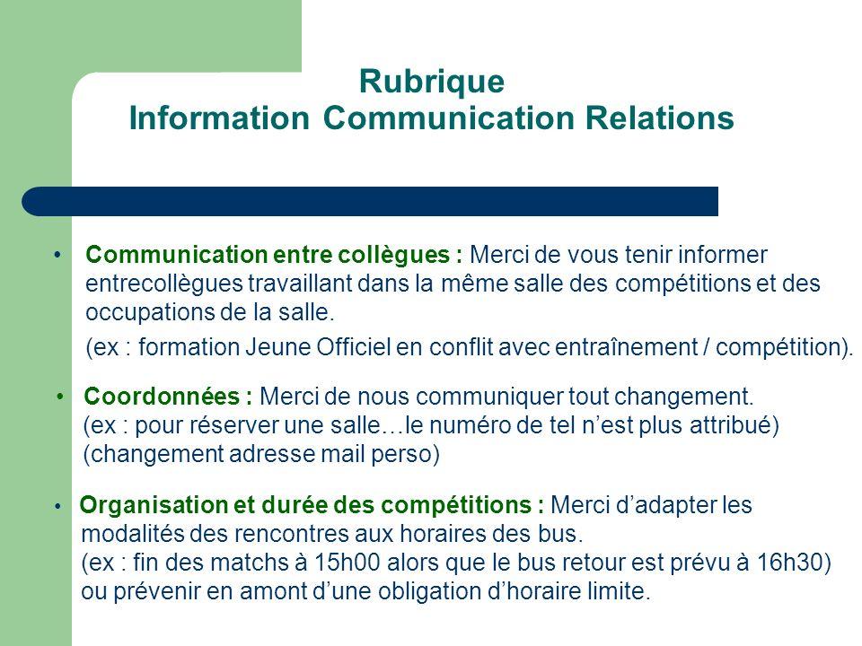 Rubrique Information Communication Relations Communication entre collègues : Merci de vous tenir informer entrecollègues travaillant dans la même salle des compétitions et des occupations de la salle.