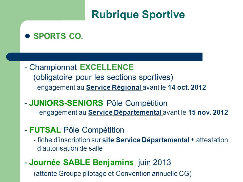 Rubrique Sportive SPORTS CO.