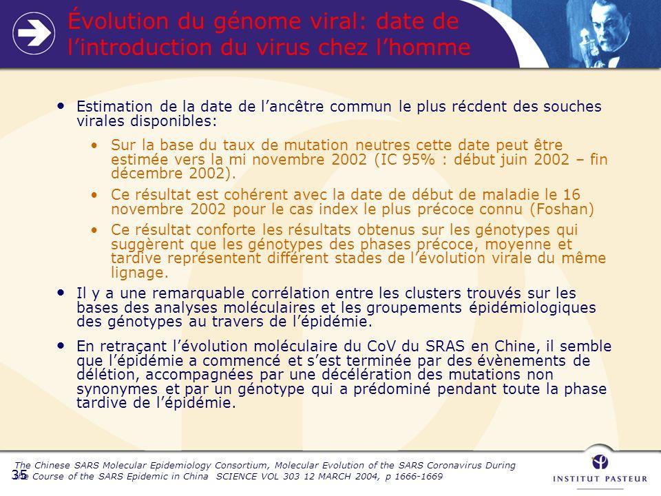 35 Estimation de la date de lancêtre commun le plus récdent des souches virales disponibles: Sur la base du taux de mutation neutres cette date peut être estimée vers la mi novembre 2002 (IC 95% : début juin 2002 – fin décembre 2002).