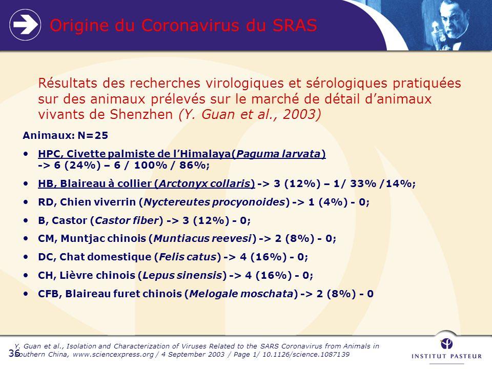 36 Origine du Coronavirus du SRAS Résultats des recherches virologiques et sérologiques pratiquées sur des animaux prélevés sur le marché de détail danimaux vivants de Shenzhen (Y.
