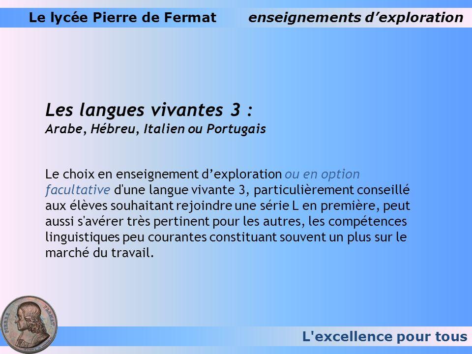 L'excellence pour tous Le lycée Pierre de Fermatenseignements dexploration Les langues vivantes 3 : Arabe, Hébreu, Italien ou Portugais Le choix en en