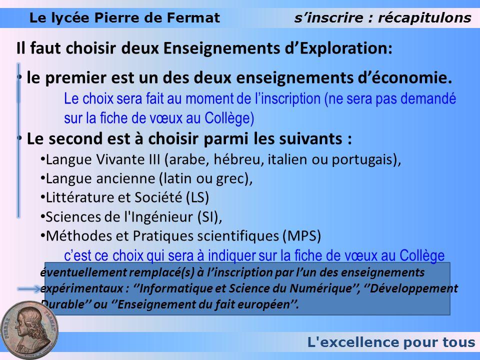 L'excellence pour tous Le lycée Pierre de Fermatsinscrire : récapitulons Il faut choisir deux Enseignements dExploration: le premier est un des deux e