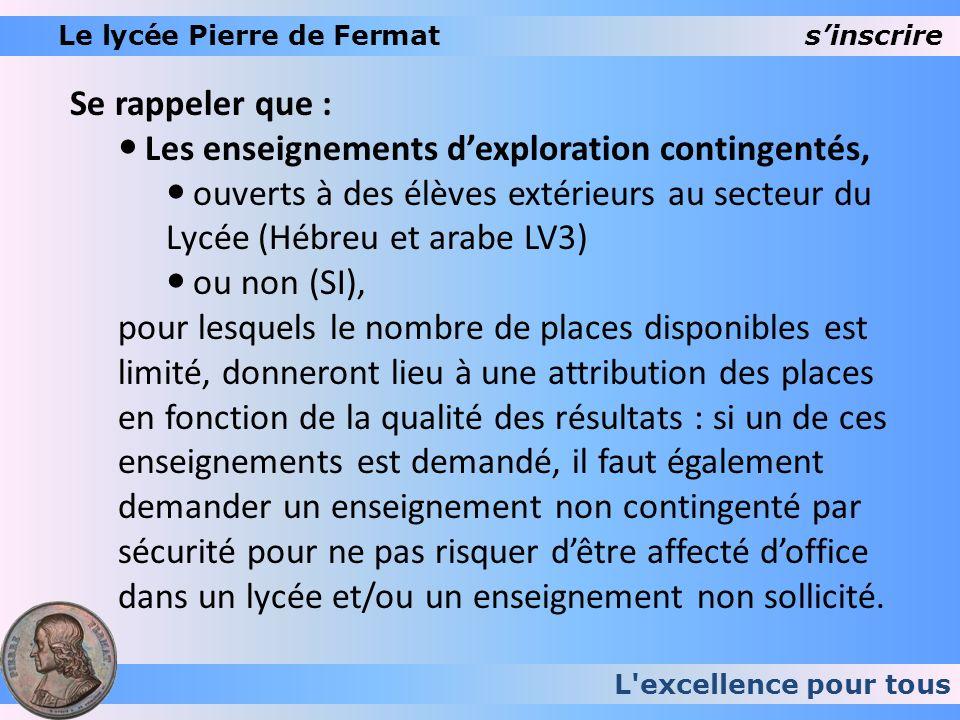 L'excellence pour tous Le lycée Pierre de Fermatsinscrire Se rappeler que : Les enseignements dexploration contingentés, ouverts à des élèves extérieu