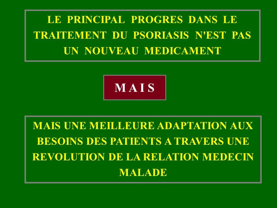 LE PRINCIPAL PROGRES DANS LE TRAITEMENT DU PSORIASIS N'EST PAS UN NOUVEAU MEDICAMENT MAIS UNE MEILLEURE ADAPTATION AUX BESOINS DES PATIENTS A TRAVERS