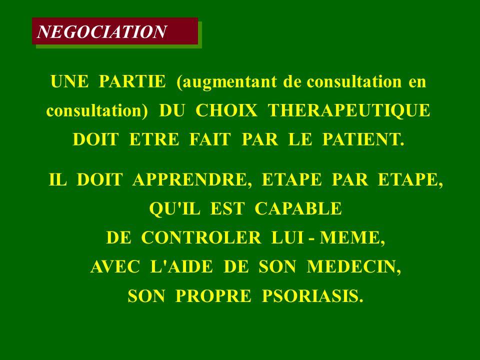 NEGOCIATION UNE PARTIE (augmentant de consultation en consultation) DU CHOIX THERAPEUTIQUE DOIT ETRE FAIT PAR LE PATIENT. IL DOIT APPRENDRE, ETAPE PAR