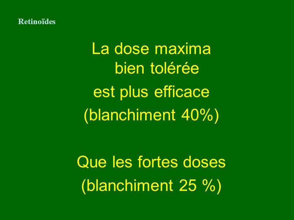 La dose maxima bien tolérée est plus efficace (blanchiment 40%) Que les fortes doses (blanchiment 25 %) Retinoïdes