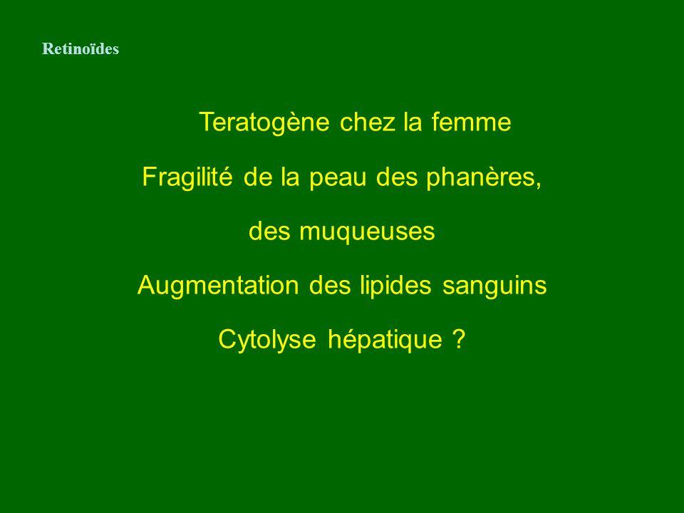 Teratogène chez la femme Fragilité de la peau des phanères, des muqueuses Augmentation des lipides sanguins Cytolyse hépatique ? Retinoïdes