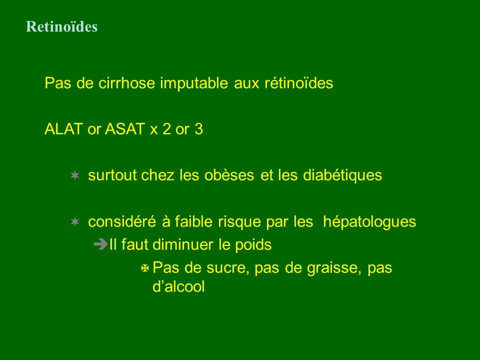 Pas de cirrhose imputable aux rétinoïdes ALAT or ASAT x 2 or 3 surtout chez les obèses et les diabétiques considéré à faible risque par les hépatologu