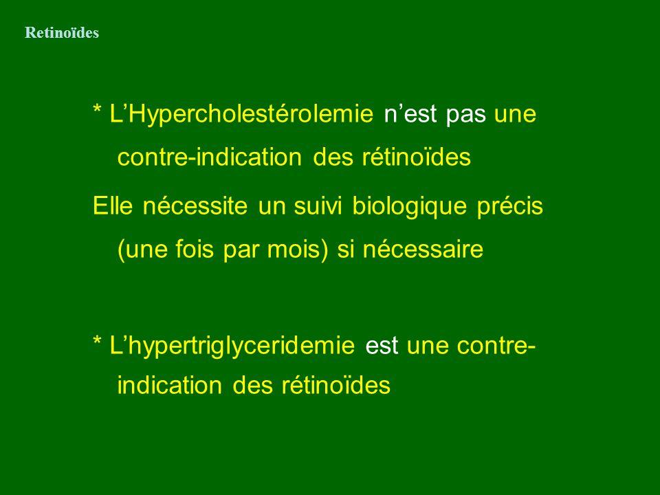 * LHypercholestérolemie nest pas une contre-indication des rétinoïdes Elle nécessite un suivi biologique précis (une fois par mois) si nécessaire * Lh