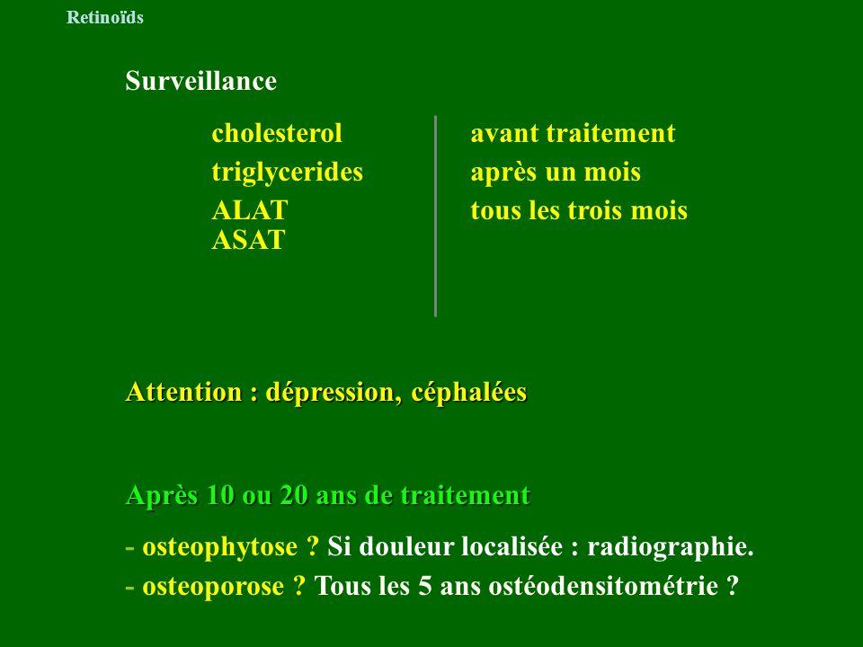 Surveillance cholesterolavant traitement triglyceridesaprès un mois ALATtous les trois mois ASAT Attention : dépression, céphalées Après 10 ou 20 ans