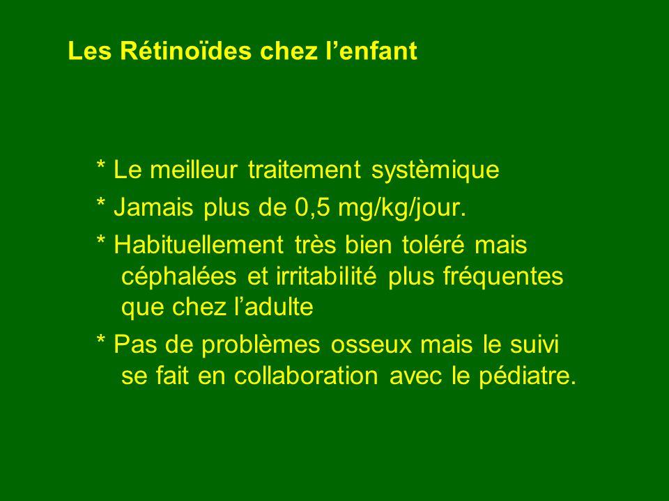 Les Rétinoïdes chez lenfant * Le meilleur traitement systèmique * Jamais plus de 0,5 mg/kg/jour. * Habituellement très bien toléré mais céphalées et i
