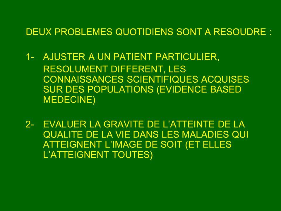 DEUX PROBLEMES QUOTIDIENS SONT A RESOUDRE : 1- AJUSTER A UN PATIENT PARTICULIER, RESOLUMENT DIFFERENT, LES CONNAISSANCES SCIENTIFIQUES ACQUISES SUR DE