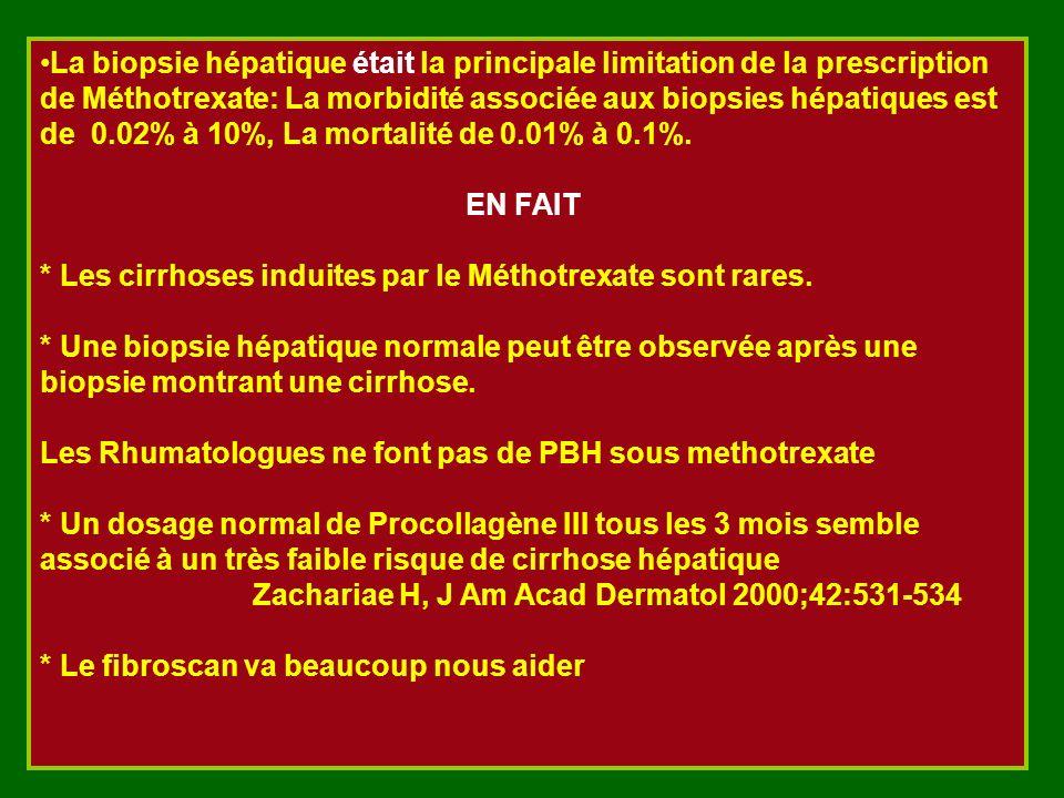 La biopsie hépatique était la principale limitation de la prescription de Méthotrexate: La morbidité associée aux biopsies hépatiques est de 0.02% à 1