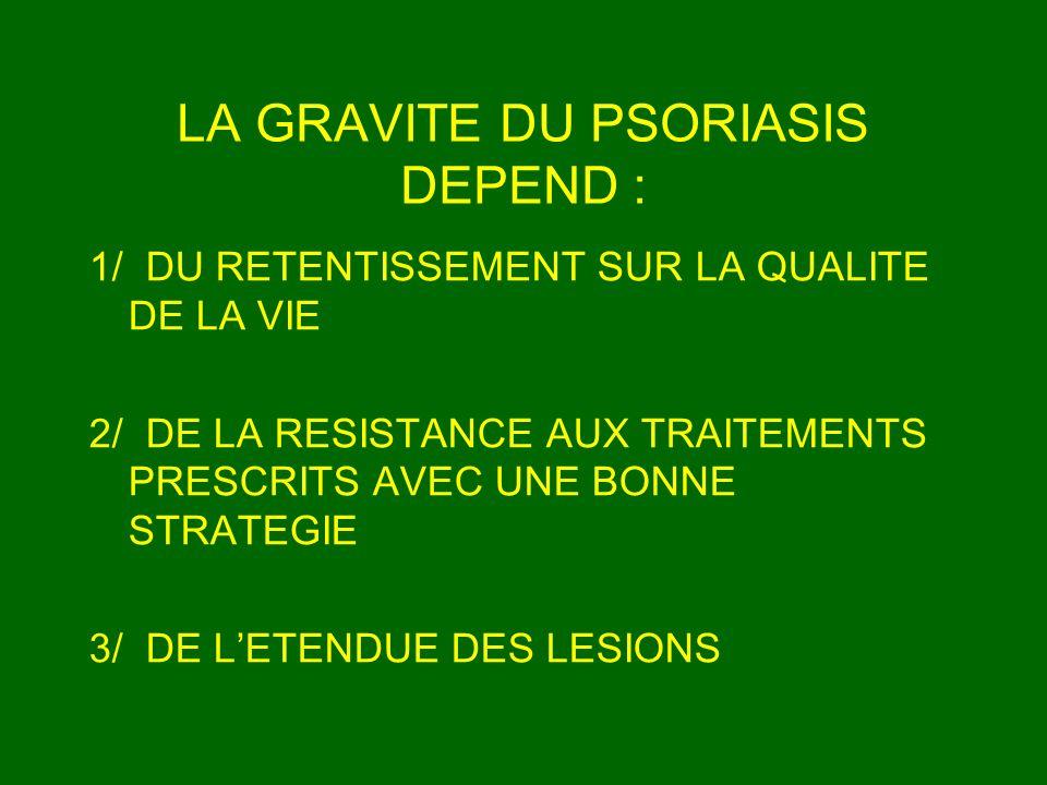 LA GRAVITE DU PSORIASIS DEPEND : 1/ DU RETENTISSEMENT SUR LA QUALITE DE LA VIE 2/ DE LA RESISTANCE AUX TRAITEMENTS PRESCRITS AVEC UNE BONNE STRATEGIE