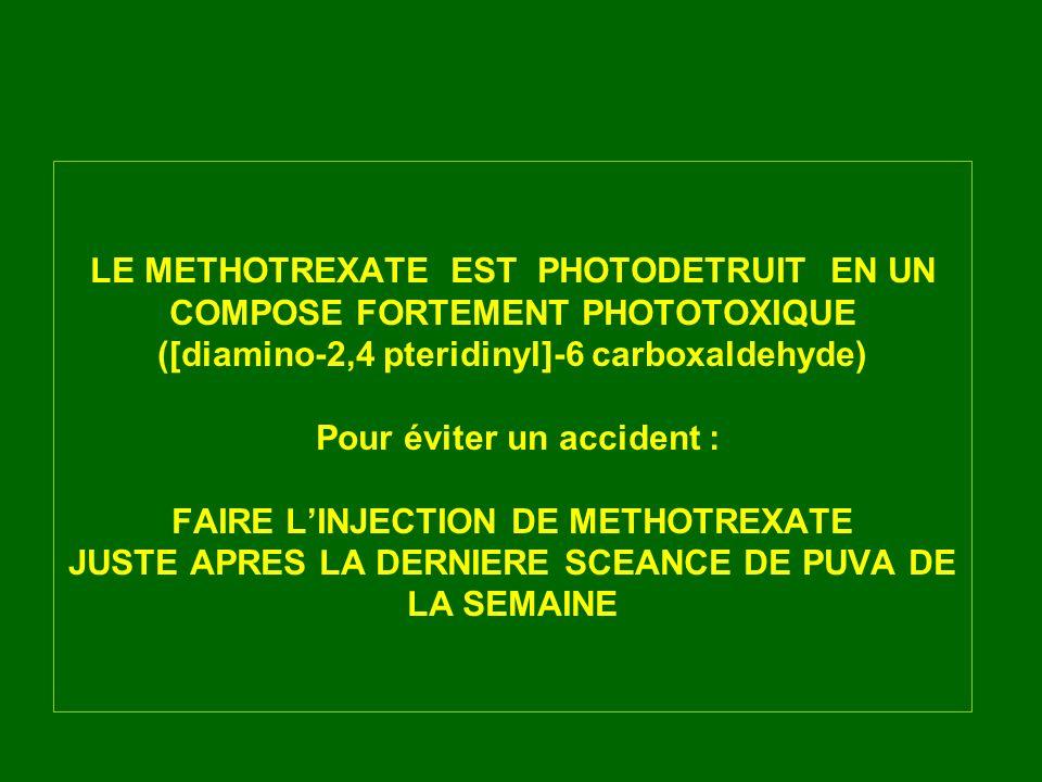 LE METHOTREXATE EST PHOTODETRUIT EN UN COMPOSE FORTEMENT PHOTOTOXIQUE ([diamino-2,4 pteridinyl]-6 carboxaldehyde) Pour éviter un accident : FAIRE LINJ