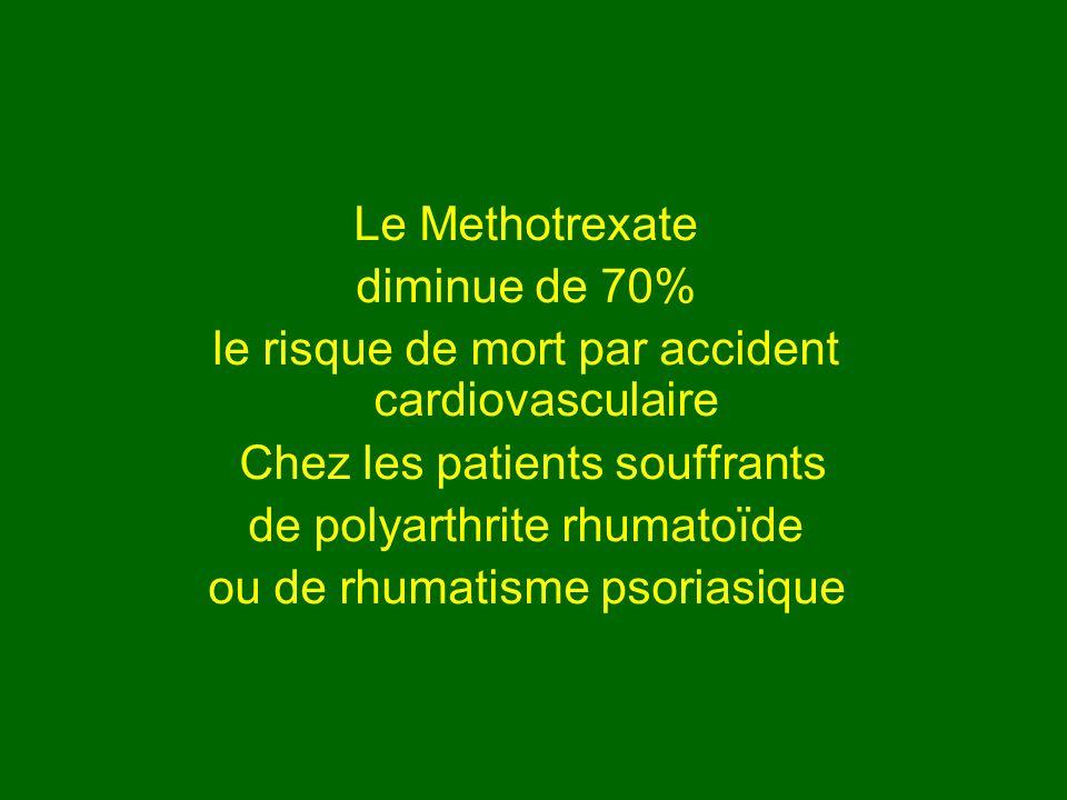 Le Methotrexate diminue de 70% le risque de mort par accident cardiovasculaire Chez les patients souffrants de polyarthrite rhumatoïde ou de rhumatism