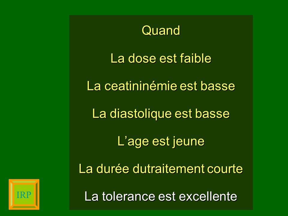 Quand La dose est faible La ceatininémie est basse La diastolique est basse Lage est jeune La durée dutraitement courte La tolerance est excellente IR