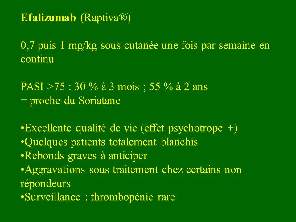 Efalizumab (Raptiva®) 0,7 puis 1 mg/kg sous cutanée une fois par semaine en continu PASI >75 : 30 % à 3 mois ; 55 % à 2 ans = proche du Soriatane Exce