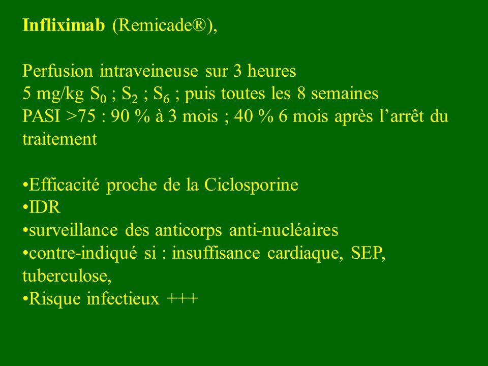 Infliximab (Remicade®), Perfusion intraveineuse sur 3 heures 5 mg/kg S 0 ; S 2 ; S 6 ; puis toutes les 8 semaines PASI >75 : 90 % à 3 mois ; 40 % 6 mo