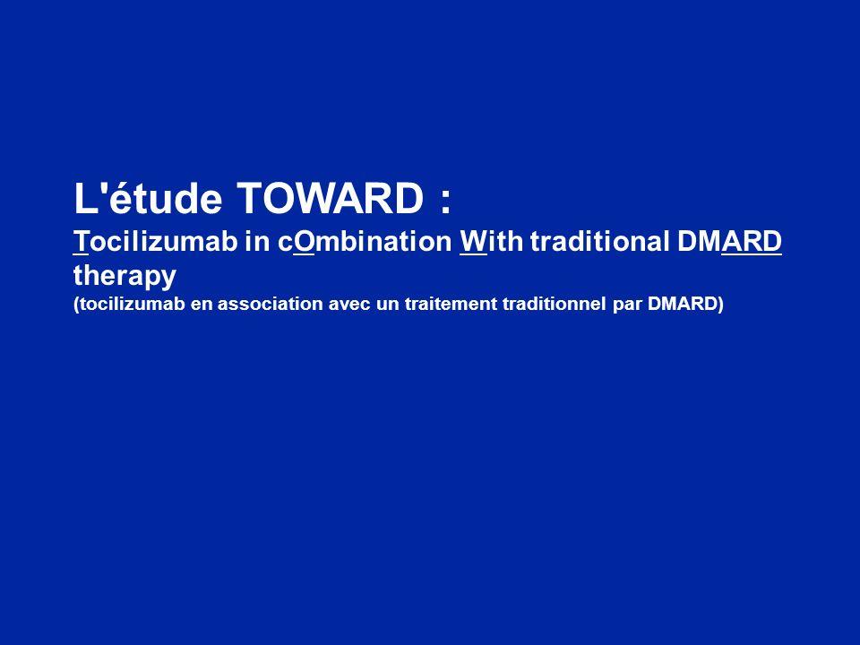 TOWARD : le tocilizumab plus DMARD procure une diminution cliniquement importante de l activité de la maladie Les patients traités par le tocilizumab ont eu significativement plus de chance datteindre une réponse ACR50 ou une rémission DAS28 Amélioration cliniquement pertinente et statistiquement significative des critères subjectifs cotés par le patient Apparition du bénéfice du traitement par le tocilizumab dès la 2 ème semaine de traitement Les améliorations observées indiquent que le tocilizumab est sûr et efficace en association avec un traitement par l un des DMARD non biologiques couramment prescrits ou à la suite d un tel traitement