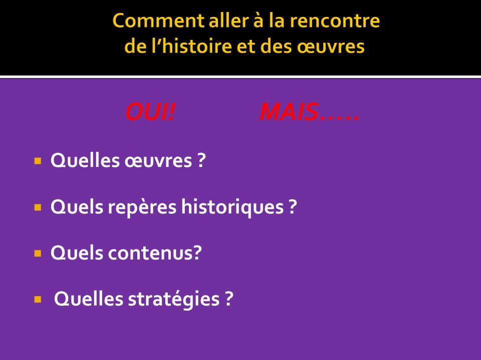OUI! MAIS….. Quelles œuvres ? Quels repères historiques ? Quels contenus? Quelles stratégies ?
