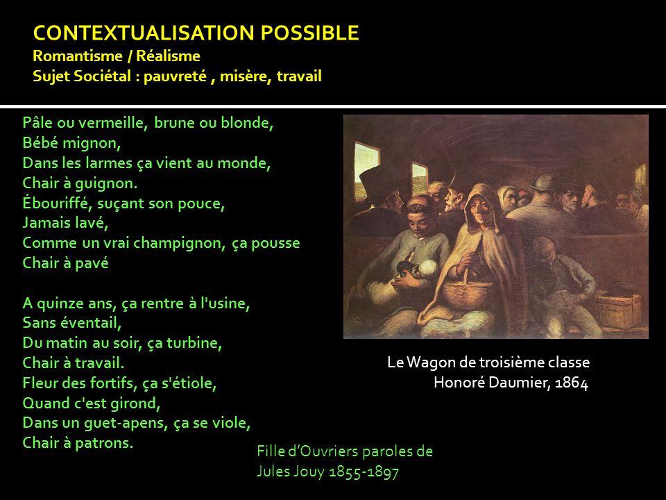 CONTEXTUALISATION POSSIBLE Romantisme / Réalisme Sujet Sociétal : pauvreté, misère, travail Pâle ou vermeille, brune ou blonde, Bébé mignon, Dans les