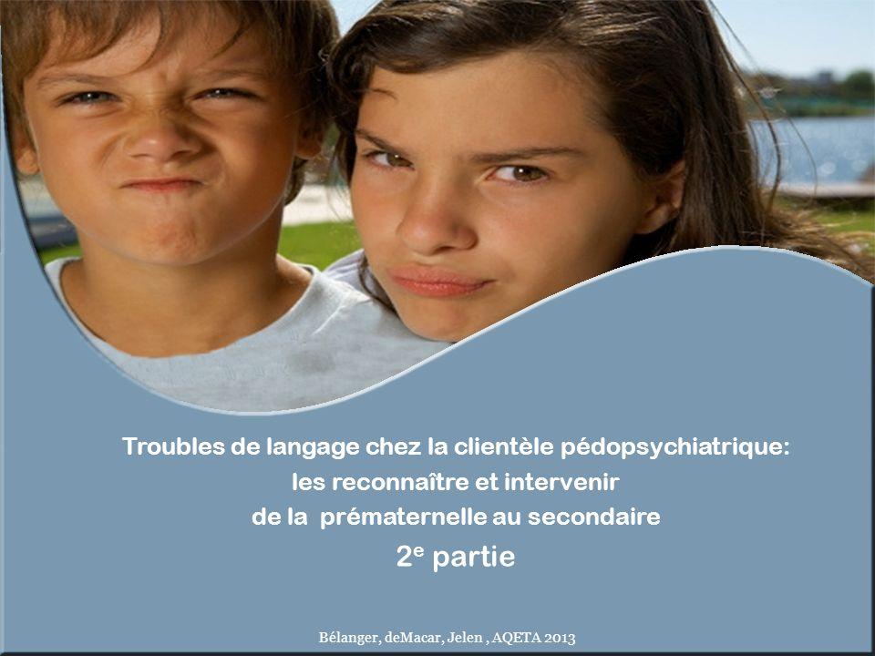 Troubles de langage chez la clientèle pédopsychiatrique: les reconnaître et intervenir de la prématernelle au secondaire 2 e partie Bélanger, deMacar,