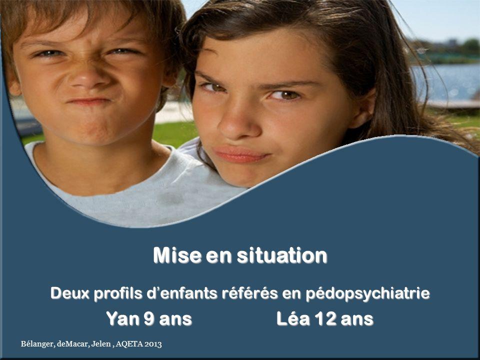 Deux profils denfants référés en pédopsychiatrie Yan 9 ans Léa 12 ans Mise en situation Bélanger, deMacar, Jelen, AQETA 2013