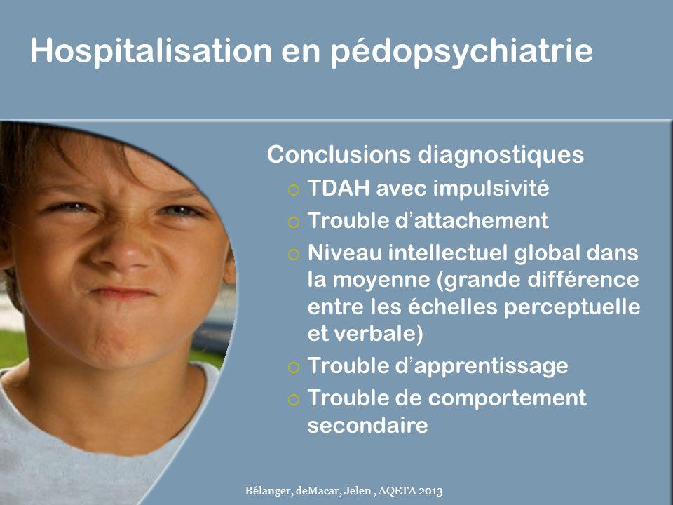 Hospitalisation en pédopsychiatrie Conclusions diagnostiques TDAH avec impulsivité Trouble dattachement Niveau intellectuel global dans la moyenne (gr